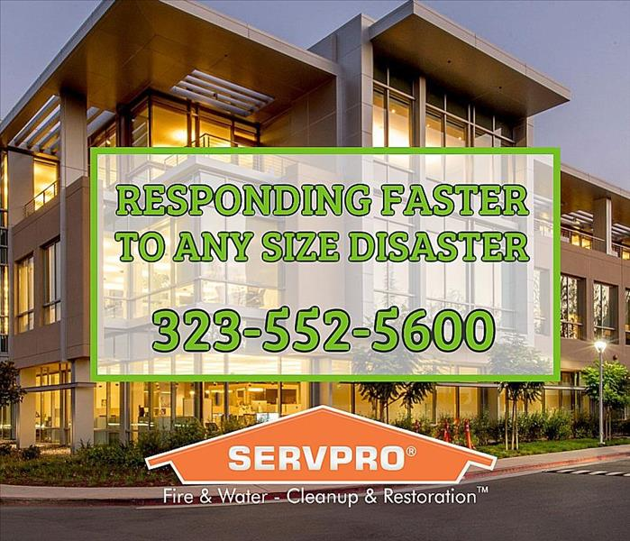 "Commercial Buildnig with SERVPRO text ""responding faster to any size disaster, 323-552-5600"